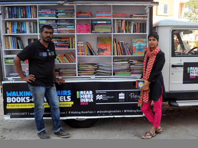 Shatabdi Mishra and Akshay Routray in their customised truck in Indore.