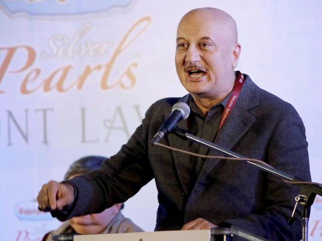 Bollywood actor Anupam Kher speaks during a session at the Jaipur Literature Festival at Diggi Palace in Jaipur.