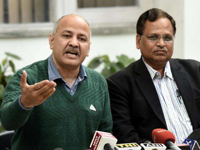 Delhi Deputy Chief Minister Manish Sisodia with PWD Minister, Satyendra Kumar Jain address a press conference on MCD funds crisis in New Delhi.