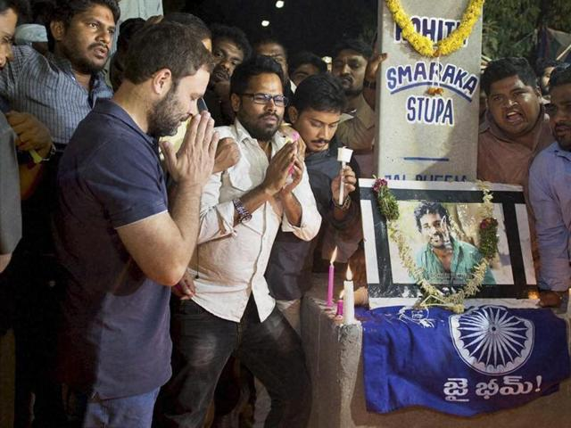 For more than 12 hours, Congress vice-president Rahul Gandhi sat with students and the family members of Rohith Vemula who are on hunger strike, demanding justice.
