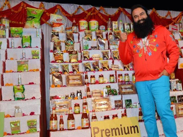 Dera Sacha Sauda chief Baba Gurmeet Ram Rahim launched the MSG range of 'swadeshi and organic' food products late on Sunday night.(HT Photo)