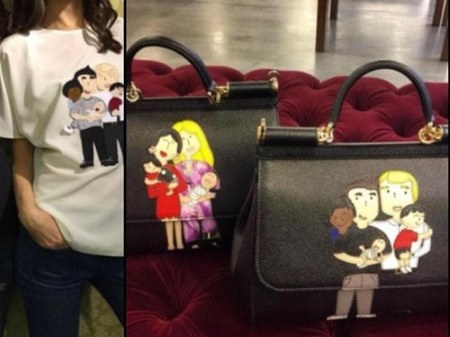 Avid Instagram user Gabbana posted photos of handbags and t-shirts adorned with childlike drawings of family groups of two men or two women with children of various ages.