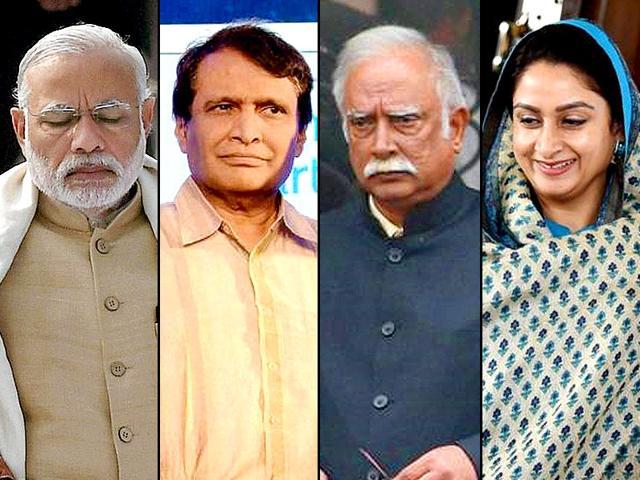 A combination photograph of Prime Minister Narendra Modi, railway minister Suresh Prabhu, civil aviation minister Ashok Gajapati Raju and ood processing industries minister Harsimrat Kaur Badal.