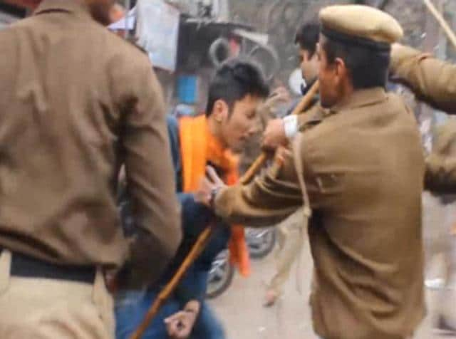 Delhi Police cane-charging the students who were protesting the alleged suicide of Rohith Vemula.
