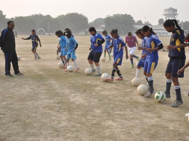 Jyoti Kumari (left), who hails from a slum, scored 15 goals in the state championship at Gorakhpur.