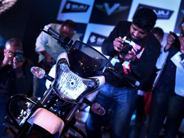 Bajaj launched 'V' –'The Invincible' bike on Monday which is made from the contains the metal sourced from the India's first aircraft carrier INS Vikrant (Vipin Kumar /HT Photo )