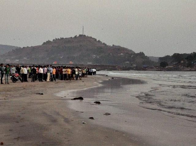 Search operation underway at Murud Janjira beach near Alibaug on Monday.