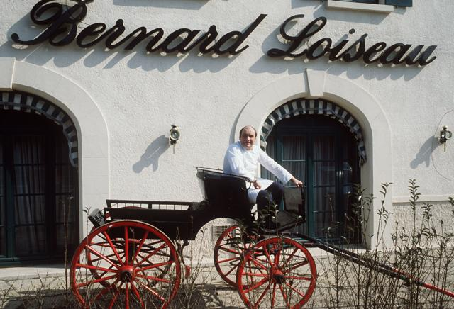 This file photo taken on March 15, 1984 in Saulieu, central France, shows late French chef Bernard Loiseau in front of his restaurant.
