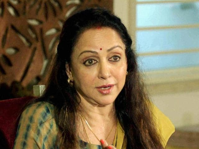 Bollywood actor and BJP MP Hema Malini addresses a press conference regarding the controversy surrounding the land allotted to her by the Maharashtra government.