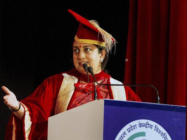 Kangra : HRD Minister Smriti Irani addressing during the 3rd convocation of HP Central University, Dharasmhala.