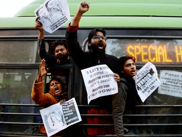 Students protest outside the office of HRD minister Smriti Irani during a demonstration in solidarity for Rohith Vemula.