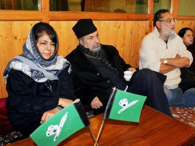 Peoples Democratic Party (PDP) president Mehbooba Mufti during a party meeting at her residence in Srinagar on Sunday.