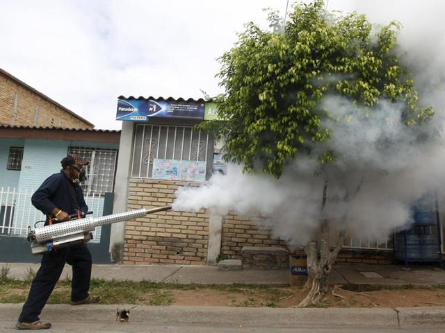 A municipal health worker carries out fumigation on a street as part of the city's efforts to prevent the spread of the Zika virus vector, the Aedes aegypti mosquito, in Tegucigalpa, Honduras.