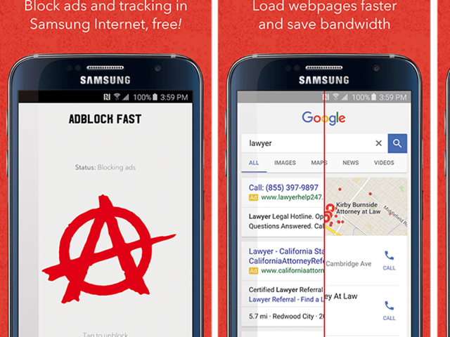 Samsung has teamed with Adblock Fast to allow ad-blockers on its proprietory browser on Android devices.