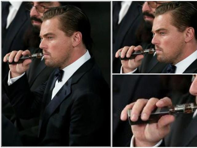 The vapist in action: Leo pulls one out at the SAG Awards.
