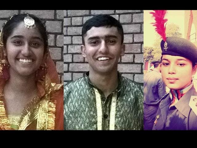From left-right: Nitya Mahajan, Ojaswi Sharma, Preeti Choudhary are the proud NCC cadets from the region.