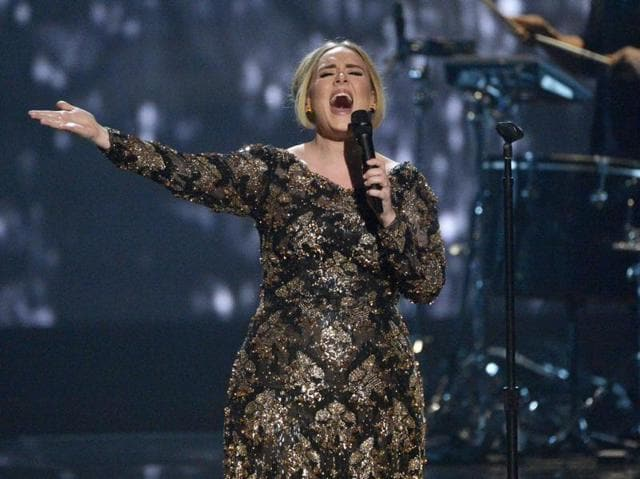 Republican US presidential contender Donald Trump played Adele's hit 2011 song Rolling in the Deep at rallies in Iowa, USA while another politician Mike Huckabee released a YouTube parody last week of her 2015 single Hello. In this image released by NBC, Adele performs at Radio City Music Hall in New York.