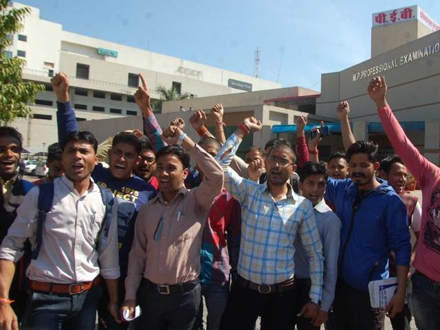 Candidates of forest guard exam staging a demonstration to protest against wrong results, in Bhopal on Monday.