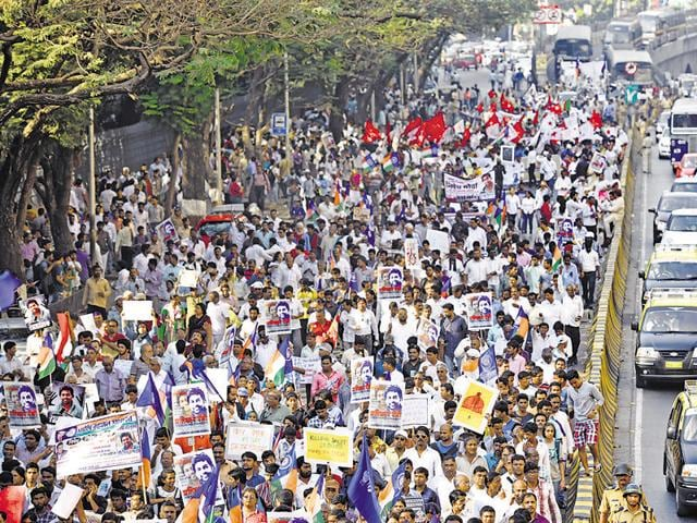 Several Dalit organisations, student groups and left-wing political parties had participated in the protest.   The JJ flyover was shut for the protest march.