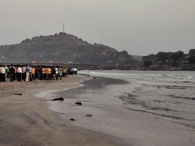 Search operation underway at Murud Janjira beach near Alibaug in Raigad district on Monday.