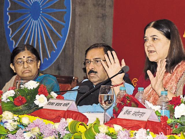 Union minister Maneka Gandhi makes a point at All India Regional Editors Confererence in Jaipur on Monday.