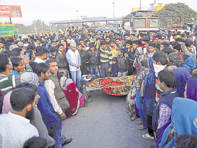 The family and residents of Dasna protested on the road with the body of the 20-year-old, demanding that his four friends be booked for murder.