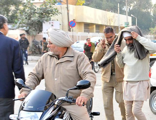 One of the accused, Hardeep Singh, being produced in  a local court in Jalandhar on Tuesday.