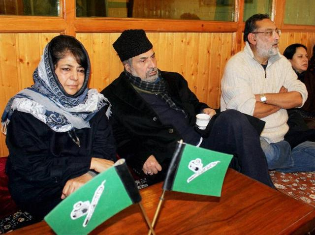 Peoples Democratic Party (PDP) president Mehbooba Mufti with during a party meeting at Mufti residence in Srinagar.