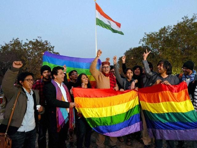 Gay rights supporters celebrate after the Supreme Court agreed to hear the petition on Section 377 which makes gay sex a criminal offence, in New Delhi on Tuesday.