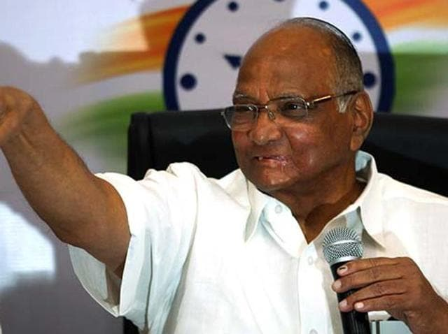 NCP chief Sharad Pawar interacts with the media in Mumbai.