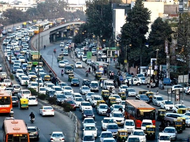 Traffic Congestion at South Extention in New Delhi, India, on Monday.