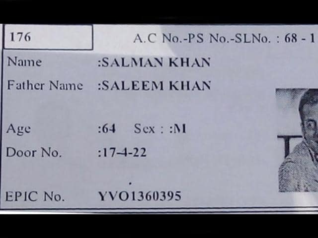 AHyderabad elector's photo identity card showed the name of the voter as Salman Khan and a picture of the Bollywood actor.