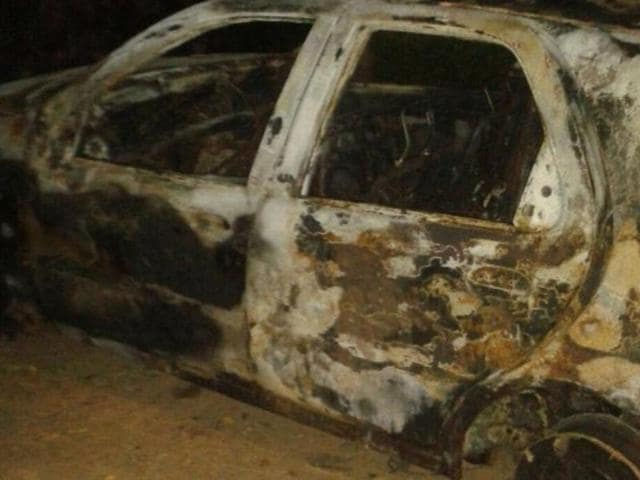 The mob also thrashed for about an hour three male students travelling with the Tanzanian woman and torched their car.