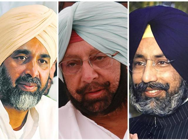 While Manpreet (L) had merged the PPP into the Congress soon after Capt Amarinder Singh (C) took charge of the state unit, it was not made clear by Gaganjit Singh Barnala (R) yet if his family-led Akali faction would merge or only ally with the Congress for the assembly polls due next year.