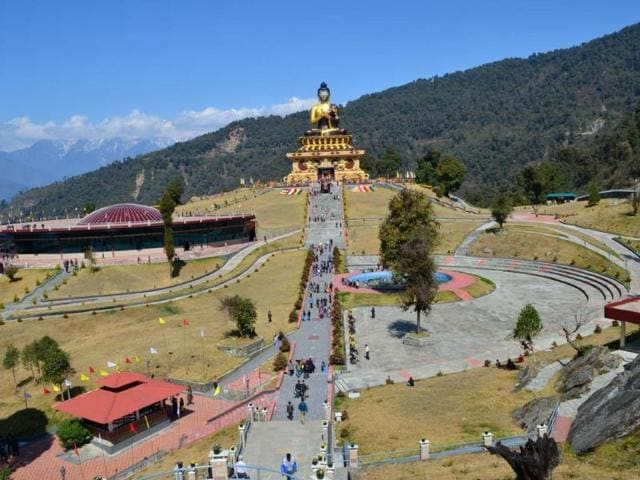 A File photo of the Buddha Park in Sikkim. The Supreme Court on Wednesday showed the green flag to a litigation-marred railway line from Sevoke in West Bengal to Rangpo.