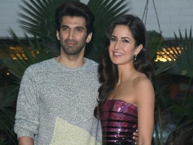 Actors Katrina Kaif and Aditya Roy Kapur during a press conference of their upcoming film Fitoor.