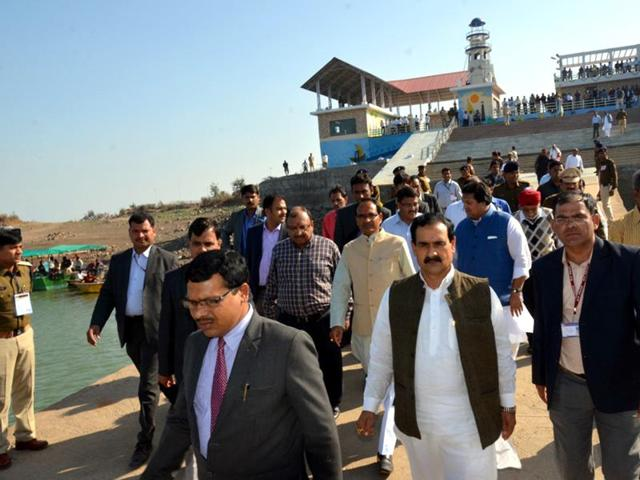Cabinet members boarded the cruise ship after a short boat ride on Indira Sagar lake in Khandwa district. The government has invited private players to build resorts and amusement parks in the area.