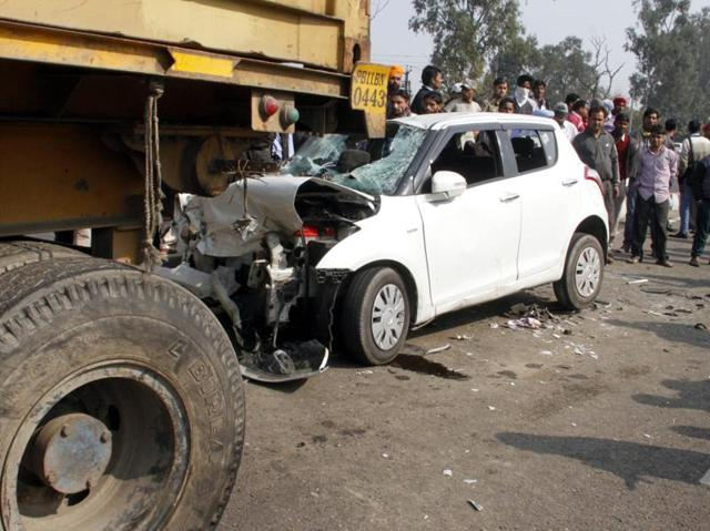 Mangled remains of the car that rammed into a truck at Sahnewal  in Ludhiana district on Tuesday.