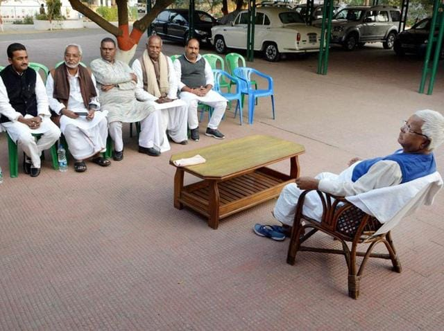 RJD chief Lalu Prasad interacted with Madhesi activists from Nepal, in Patna.