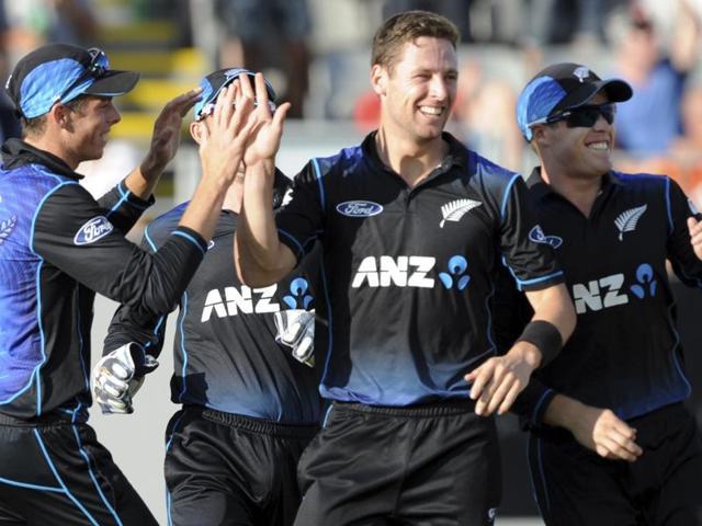 New Zealand's Martin Guptill bats against Australia in the first one-day international cricket match.