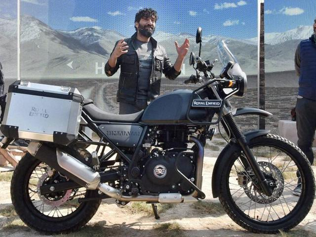 Siddhartha Lal, MD & CEO, Eicher Motors Ltd  and Rudratej Singh, president, Royal Enfield at the launch of Himalayan, a motorbike designed for mountain riding.