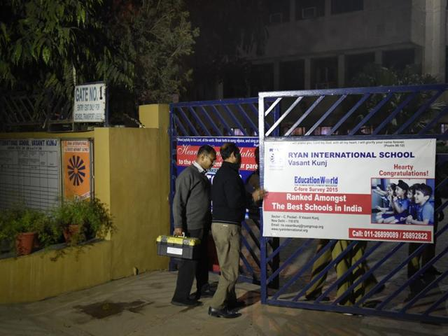 Forensic experts on Tuesday tried to recreate the scene before Divyansh drowned in a water tank at Ryan International School.