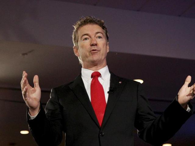 US Senator Rand Paul speaks at the New Hampshire GOP's FITN Presidential town hall in Nashua, New Hampshire.