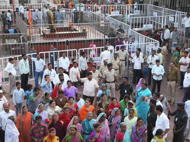 Supporters of Shani Shingnapur gathered at the temple to support the religious shrine's trust, at Ahmednagar.