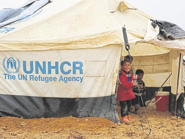 Syrian children take refuge at a UN camp in east Lebanon.