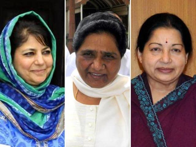 Combination picture of Mehbooba Mufti, Mayawati and Jayalalithaa