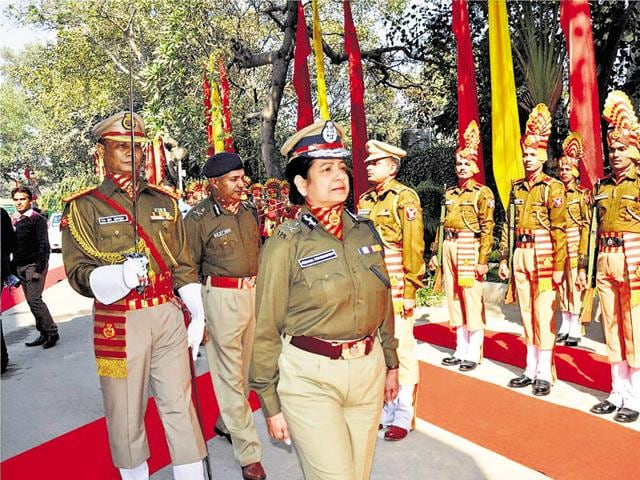 Archana Ramasundaram inspects a guard of honour on her arrival to take charge as SSB chief in New Delhi on Wednesday.