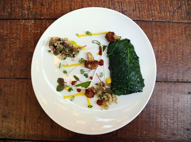 Sarso saag wrapped fish with cauliflower couscous, by