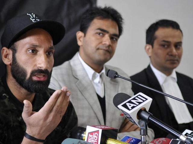 Hockey player Sardar Singh  with others during  the press conference at Hockey stadium , Sec-42 in Chandigarh on Thursday.