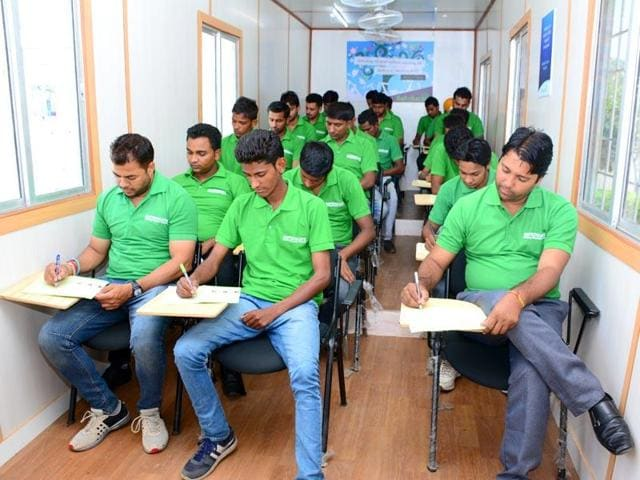 Mobile schools, classrooms held in a container, are teaching graduates to bridge their skills gap in rural and impoverished areas.